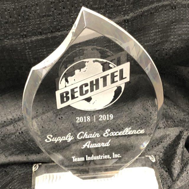 Bechtel 2019 Supply Change Excellence Award